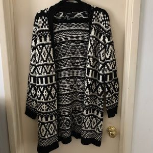 Geo print long open cardigan
